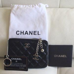 Chanel black lamb skin leather wallet SLG